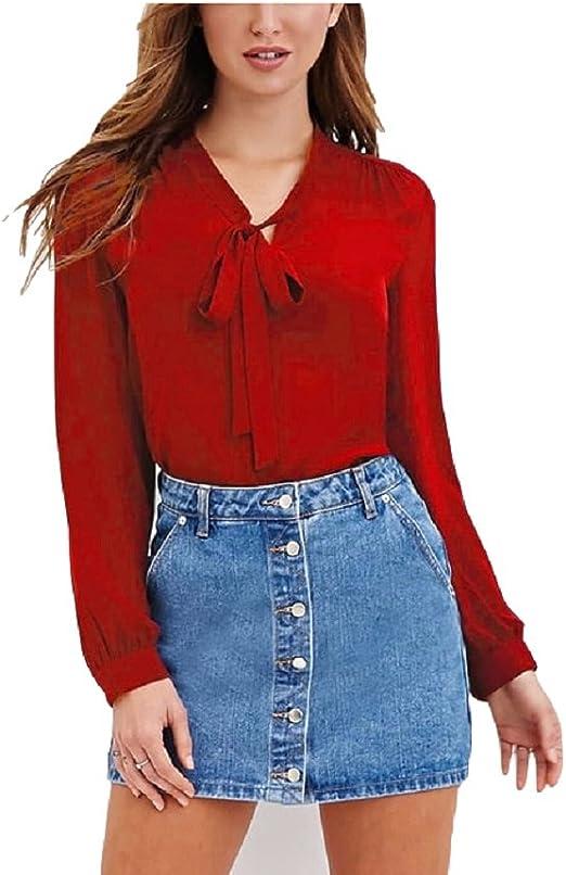 Heeecgoods Blusas para Mujer Blusa con Cuello en V de Gasa Camisas Ocasionales Blusas de Manga Larga con Cuello en V Tops con Lazo (Color : Vino Rojo, tamaño : L): Amazon.es: