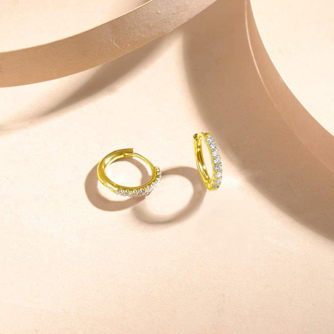 FANCIME White//Yellow Gold Plated Sterling Silver Hoop Earrings for Mothers Day CZ Cubic Zirconia Small Second Hole Hinged Cartilage Hoop Huggie Earrings For Women Girls 18mm 13mm Hoop Earrings