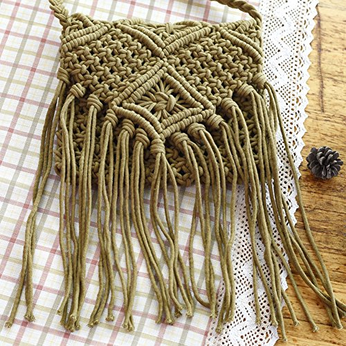 Fringed Necessity Tassel Crochet to Bag Out school Bag Beach Hollow Body Bohemian Women Army Woven Green Back Bag Girls Shoulder Cross EqXF11w
