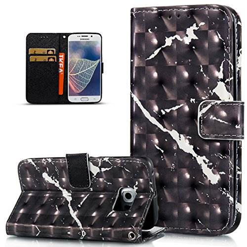 Galaxy S6 Edge Case,Galaxy S6 Edge Cover,ikasus 3D Colorful Art Painted Marble Pattern Flip Folio Wallet Case PU Leather Scratch Resistant Stand Card Slots Case Cover for Samsung Galaxy S6 Edge,Black