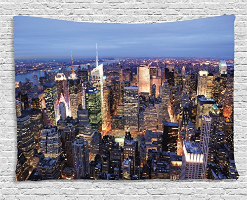 Ambesonne New York Tapestry Decor, Aerial View of NYC Full of Skyscrapers Manhattan Times Square Famous Cityscape Panorama, Wall Hanging for Bedroom Living Room Dorm, 80 W X 60 L inches, Blue