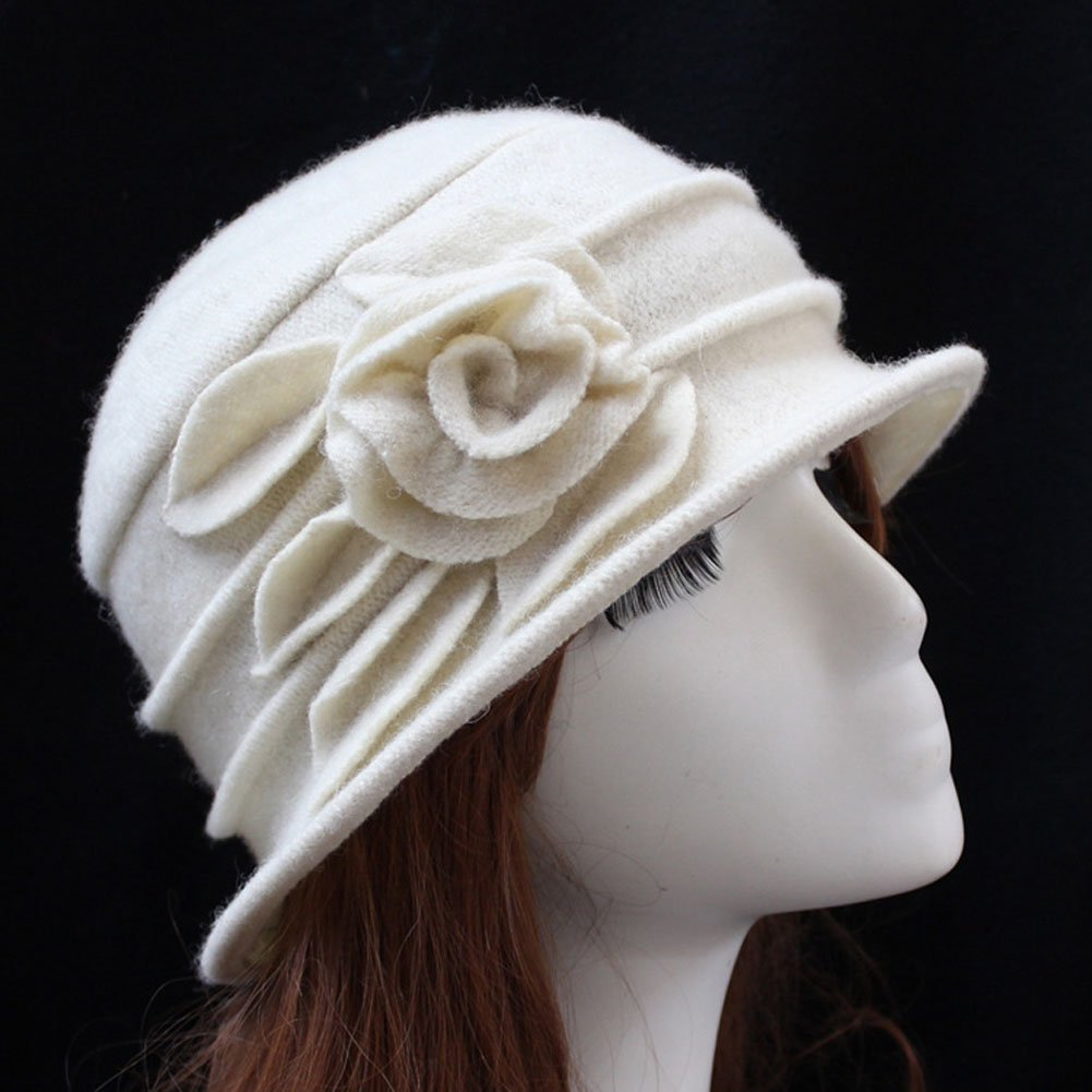 Telamee Lady's Off White Beanie Hat Woolen Billycock Wool Hat Cap with Flowers by Telamee (Image #2)