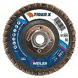 Weiler 51204 Tiger X Flap Disc, Ceramic and Zirconia Alumina, Angled, Phenolic Backing, 36 Grit, 4-1/2'', 5/8''-11 UNC Nut (Pack of 10)