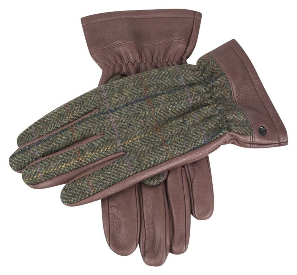 Bark/Hunter Green Richmond Cashmere Lined Deerskin Leather Abraham Moon Gloves by Dents - Medium