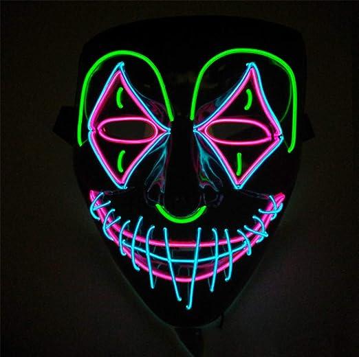 CVDEKH Máscara LED Halloween Máscara Disfraz Payaso El Resplandor ...
