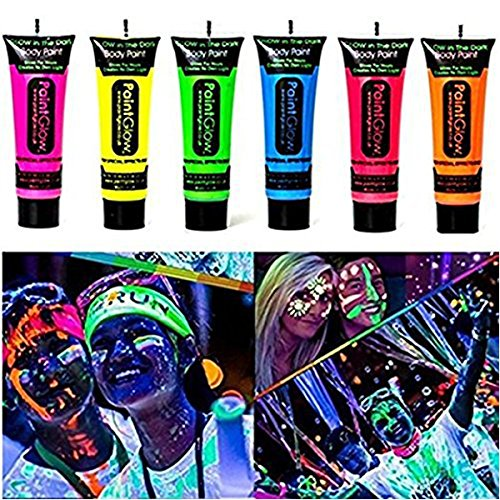 Homehere Glow in Dark Face Body Paint UV Blacklight Neon Fluorescent-0.35oz Set of 6 Tubes - Safe, Washable, Non-Toxic