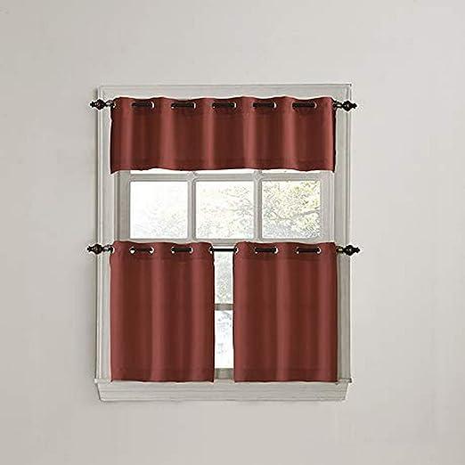No Nickel Gray 918 Montego Grommet Textured Kitchen Curtain Valance 56 x 14