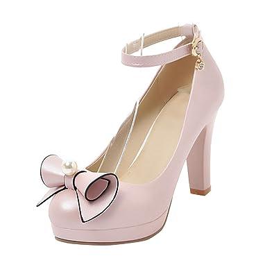 YE Damen Ankle Strap Lack Pumps Blockabsatz High Heels mit Riemchen Elegant Schuhe  37 EURosa