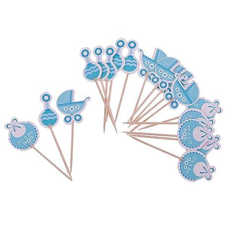 Gazechimp 18pcs Topper de Madera de Pastel Diseño con Niña/Niño Adornos de Cupcake de Fiesta de Bautizo de Bebé - Es un niño