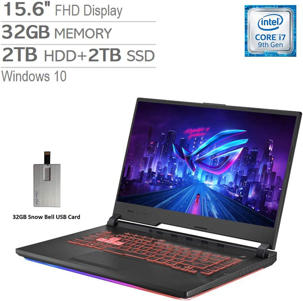 "2020 ASUS ROG Strix G 15.6"" FHD LED Gaming Laptop Computer, Intel Core i7-9750H, 32GB RAM, 2TB HDD+2TB SSD, Backlit Keyboard, GeForce GTX 1650 Graphics, HDMI, Win 10, Black, 32GB Snow Bell USB Card"