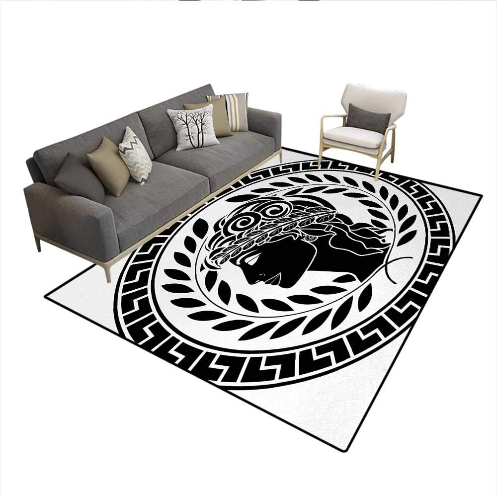 Carpet,Roman Antique Beauty Muse Portrait Patrician Woman Old Fashion Aesthetic Icon,Indoor Outdoor Rug,Black WhiteSize:5'x6' by Anyangeight