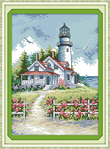 Cross Stitch Lighthouses - Cross stitch kits for lighthouse - Eafior DIY Handmade Needlework Embroidery Kits lighthouse pattern printed design Home Decoration Wall Decor 21×30cm(No frame)