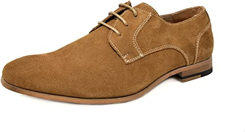 Bruno Marc Men's Suede Leather Oxford Classic Dress Shoes Business Casual Shoes Constiano-1 Tan 10 M US
