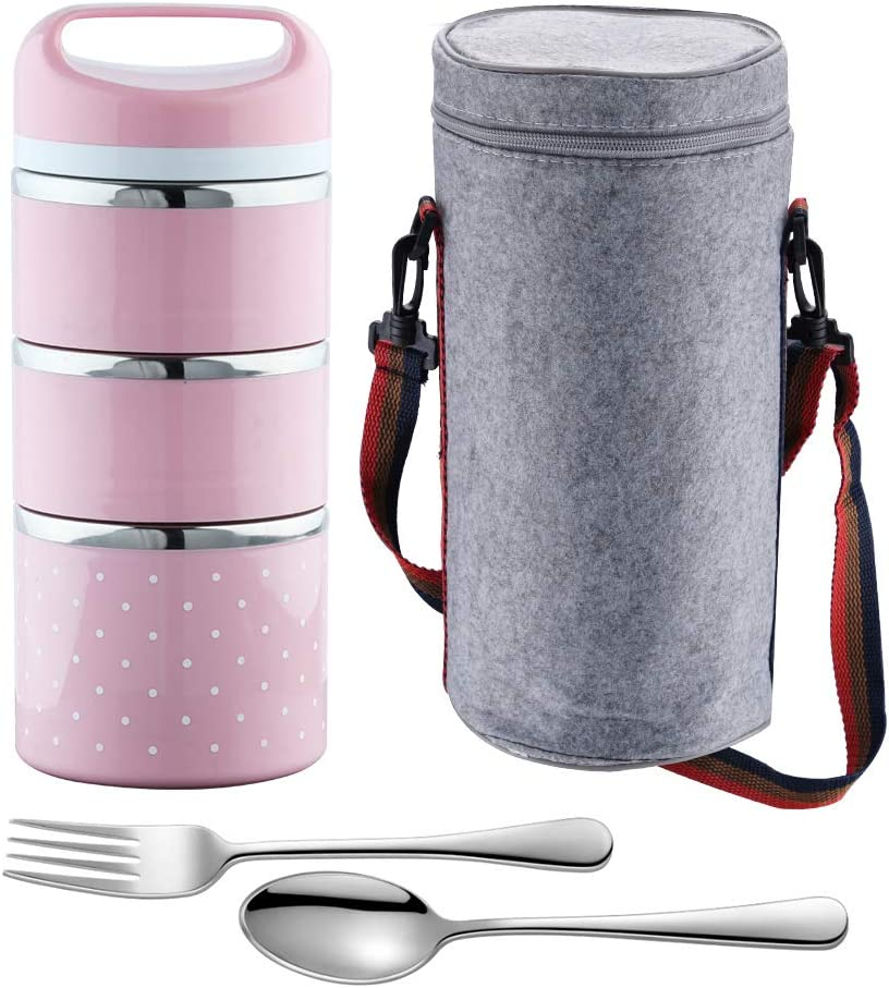 OKQ Stackable Lunch Box Container, 3-Tier Stainless Steel Bento Box, for Adults/Men/Women/Kids, with a Lunch Bag Spoon Fork, Leakproof and Thermal, Insulated Lunch Box - Pink