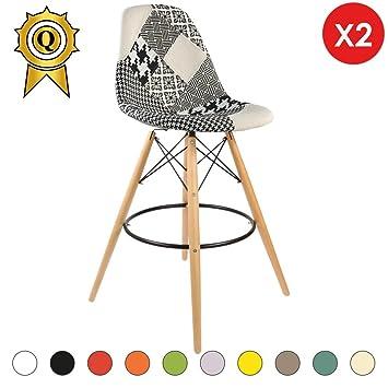 Mobistyl Promo 2 X Chaise Haute Bar Tabouret Scandinave Pieds Bois Clair Assise Patchwork Noir Blanc Dswhl Pn 2