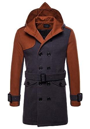 YYZYY Herren Herbst Winter mit Kapuze Wollmantel Trenchcoat übergangs  Überzieher Lang Mäntel Jacke Overcoat Parka Windbreaker 7783e1c176