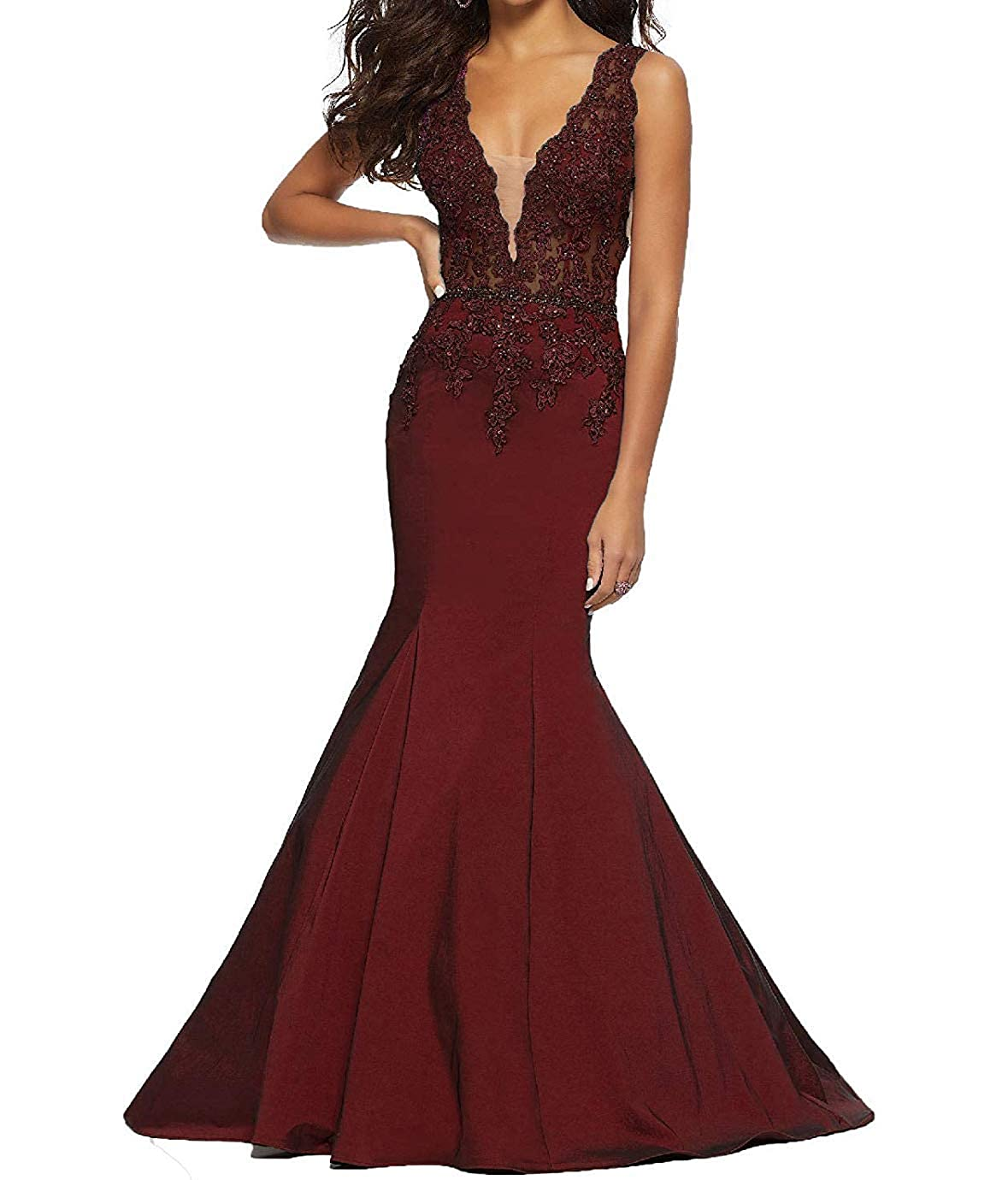 Burgundy tutu.vivi Women's 2019 VNeck Appliques Mermaid Prom Dresses Long Beaded Evening Ball Gown