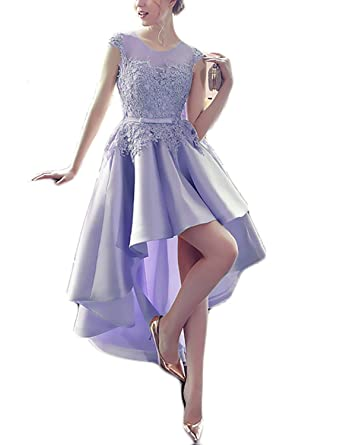 XingMeng Line High Low Prom Dresses Lace Vintage Bridesmaid Gowns For Women Lavender US 2