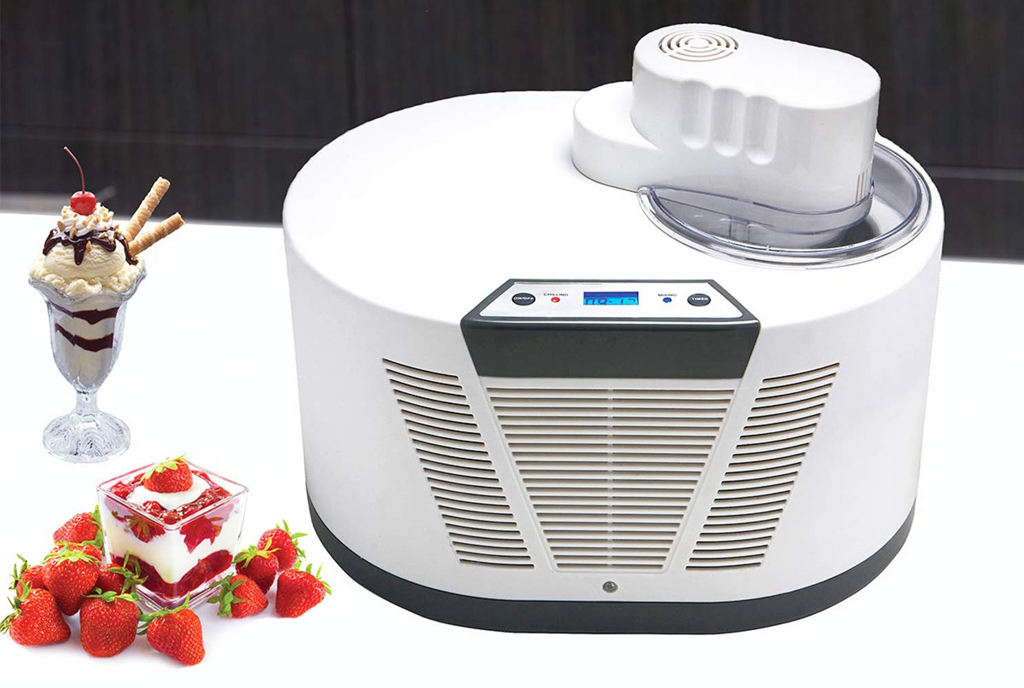 Hanchen Electric Automatic Homemade Ice Cream Machine Advanced Compressor Self-cooling Small Commercial Ice Cream Maker of 1100 ml Capacity for Kids Cuisinart 30min/pot 12 balls /pot with 3C certificate 220V Computer control
