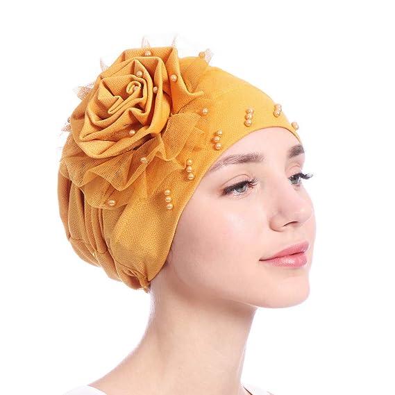Cinnamou  Sombreros Color sólido con Cuentas Indio Tapa del Turbante  Headwrap Caps Flore Estiramiento Musulmán Gorra de Pañuelo  Amazon.es  Ropa  y ... 84035f63338f
