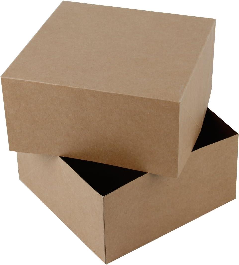 RUSPEPA 20.5 X 20.5 X 10.2Cm Cajas De Regalo Cuadradas De Cartón, Tazas De Café Caja De Regalo con Tapas, Paquete Completo De 10 (Brown Kraft): Amazon.es: Hogar