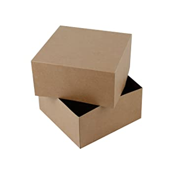 Ruspepa 20 5 X 20 5 X 10 2cm Square Cardboard Gift Boxes Coffee Cups Gift Box With Lids 10 Full Pack Brown Kraft