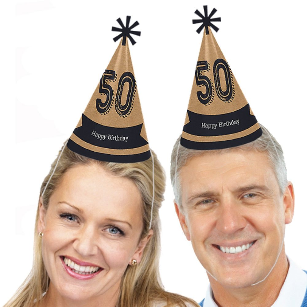 Dashingly Aged to Perfection Cone Happy Birthday Party Hats for Kids and Adults Set of 8 Standard Size 50th Milestone Birthday