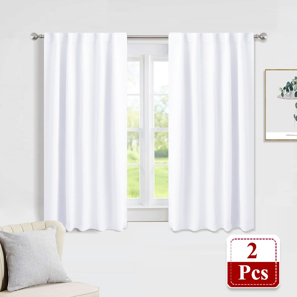 PONY DANCE White Window Curtains - Window Dressing Soft Fabric Room Darkening Back Tab/Rod Pocket Curtain Drapes Privacy Protect Panels for Bedroom & Bathroom, 42'' W x 54'' L, Pure White, 2 Pcs