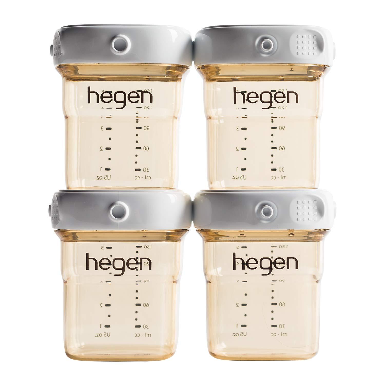 Hegen Breast Milk Storage (4-Pack)- 150ml/5oz PPSU-Connecting Lids for Express Storage