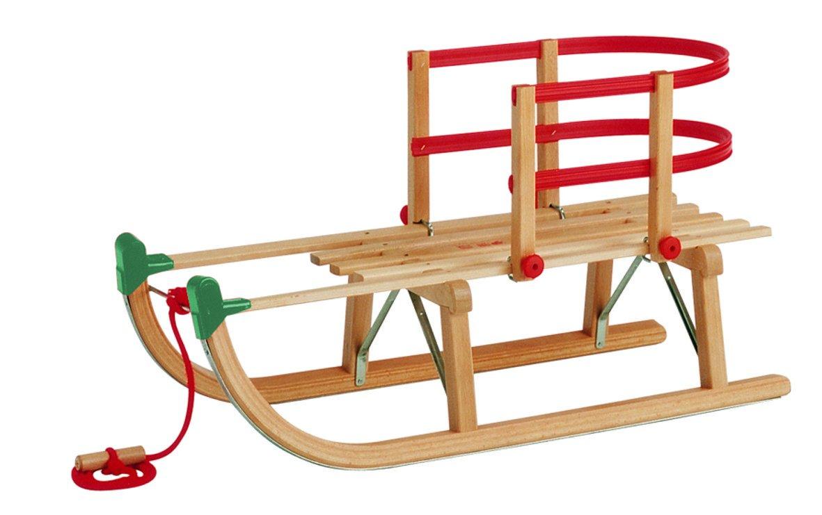 Gloco Davoser Rodel 85 cm mit grünen Schutzkappen Kinderlehne Zugseil mit Holzgriff