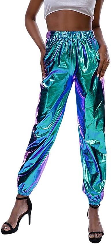 JiXuan Pantalones Harén Cintura Alta Mujeres Pantalones Hip Hop ...