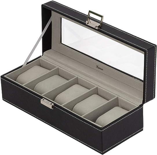 IsmatDecor Caja para Relojes Negra (5 Relojes): Amazon.es: Joyería