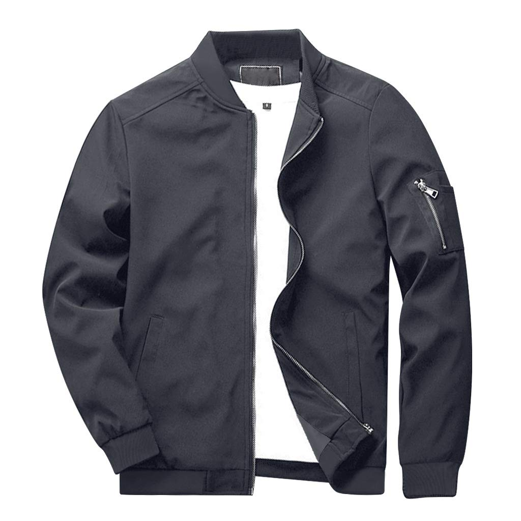 CRYSULLY Men's Fall Fashion Zipper Zip Hip Hop Varsity Baseball Lightweight Breathable Jacket Grey by CRYSULLY