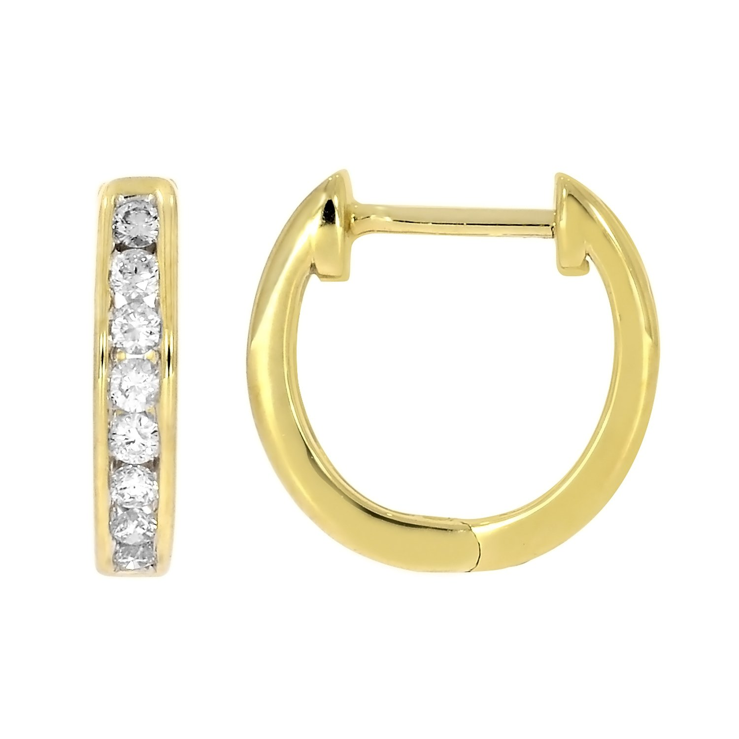 1/4 cttw 10k Solid Gold Round Cut White Diamond Ladies Dainty Hoop Earrings (yellow-gold)