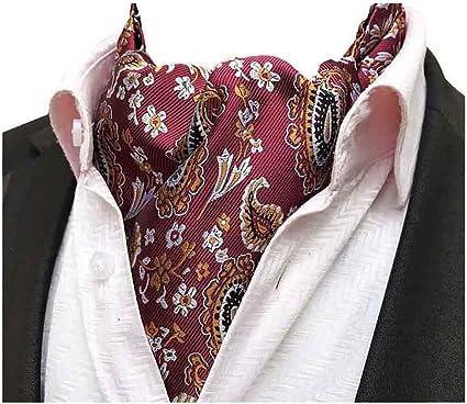 MOHSLEE Mens Red Floral Paisley Ascot Silk Suit Gift Cravat Scarf Ties Neckties