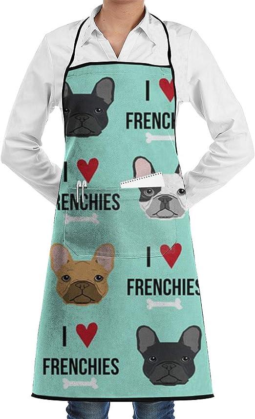 Delantal de cocina de tela ajustable para perros Frenchie con ...