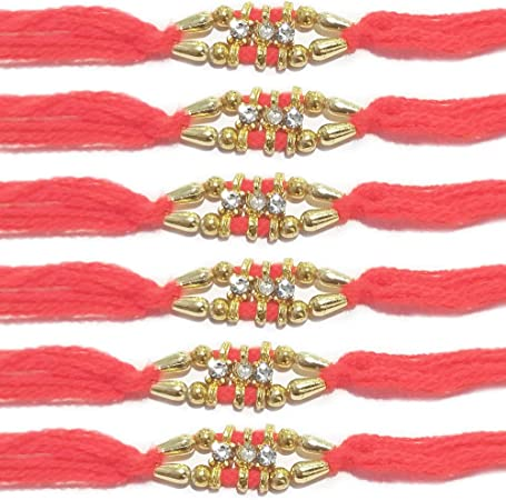 WhopperIndia Set of 3 Center Five Diamond and Small Beads Traditional Rakshabandhan Rakhee Bracelet Color and Design May Vary