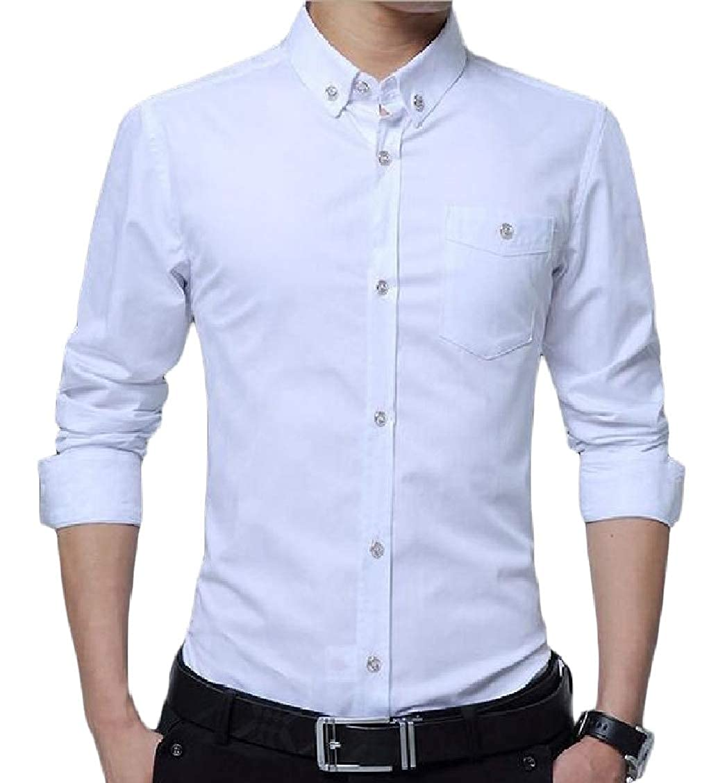 Sweatwater Mens Office Button Down Pure Colour Regular Fit Long Sleeve Shirts