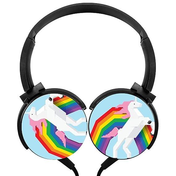 944ccff4c999e Amazon.com: Stereo Headphone Fun Unicorn Rainbow Wired Portable ...