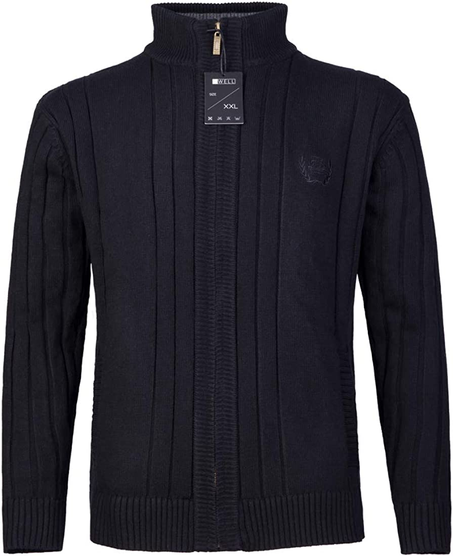 GWELL Herren Strickjacke mit Fleece Einfarbig Verdickte Sweater Cardigan Strickpullover mit Rei/ßverschluss Stehkragen