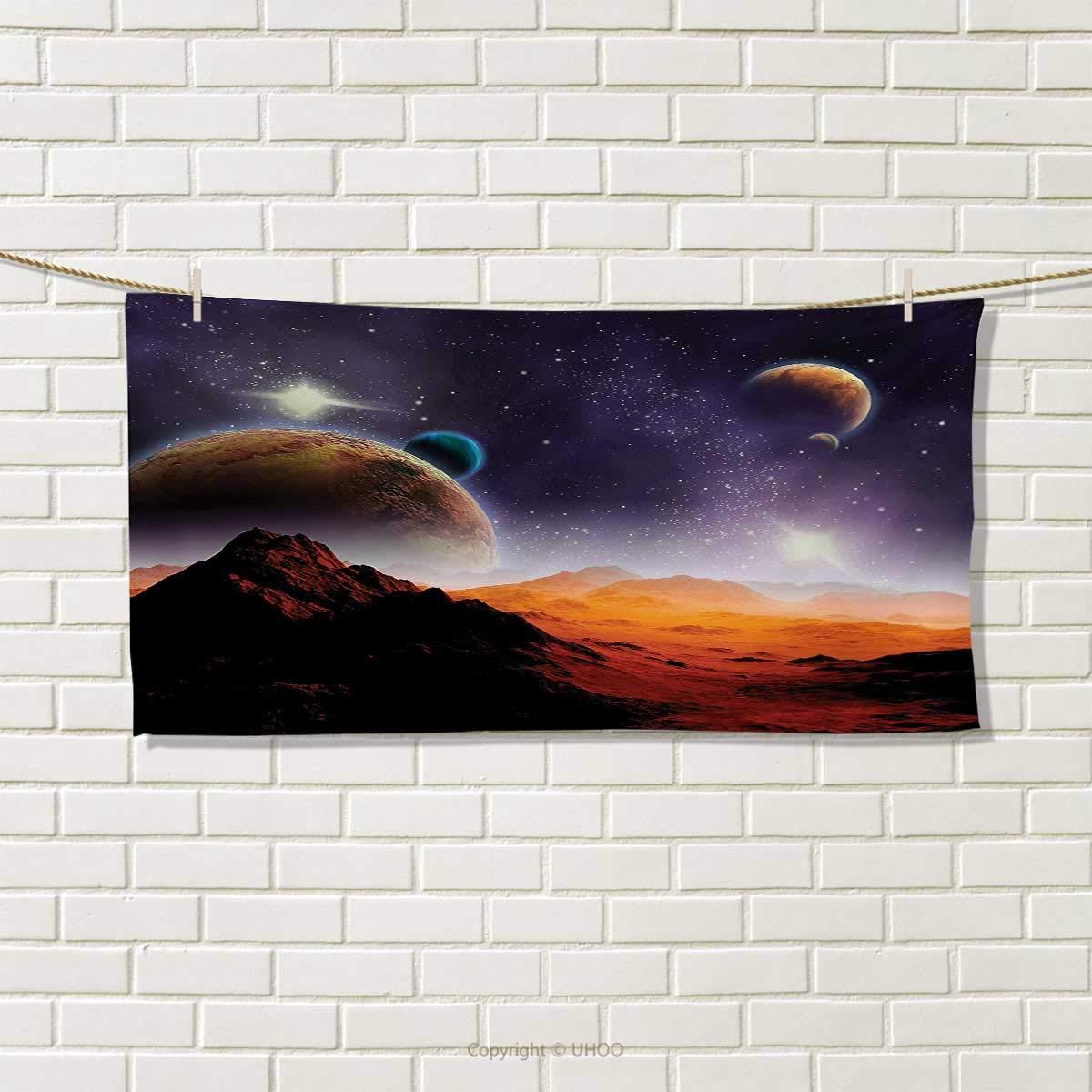 Chaneyhouse Galaxy,Hand Towel,Solar Sky Nebula Orbit Comet Horizon System Earth and Cosmos Fantasy Image,Quick-Dry Towels,Purple Dark Orange Size: W 20'' x L 20''