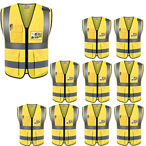 ZOJO High Visibility Safety Vests,Lightweight Mesh Fabric, Wholesale Reflective Vest for Outdoor Works, Cycling, Jogging, Walking,Sports - Fits for Men and Women (Pack of 10, Gold Yellow)