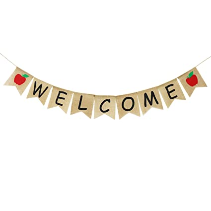Amazon Com Welcome Banner Burlap First Day Of School Banner