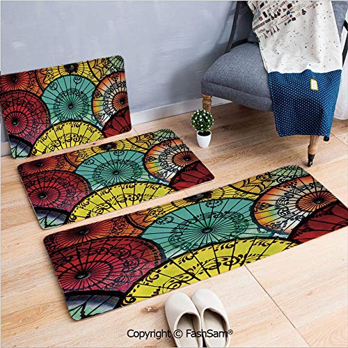 - FashSam 3 Piece Flannel Doormat Tribal Parasols at Indonesian Street Market Vibrant Heritage Boho for Kitchen Rugs Carpet(W15.7xL23.6 by W19.6xL31.5 by W19.6xL59)