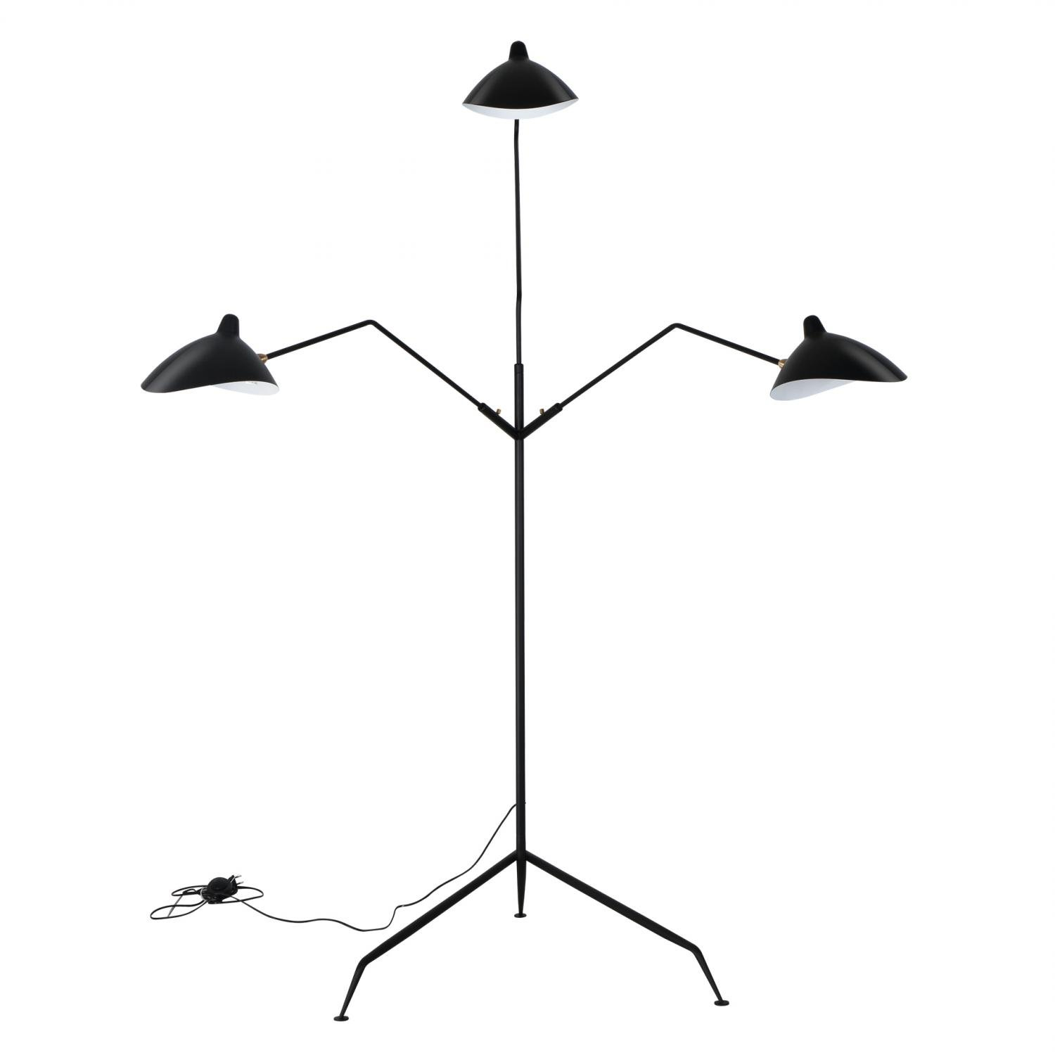 Reproduction of Serge Mouille Three Arm Floor Lamp Standing Lamp
