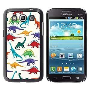 Patrón de dinosaurio blanco Saurus Niños - Metal de aluminio y de plástico duro Caja del teléfono - Negro - Samsung Galaxy Win I8550