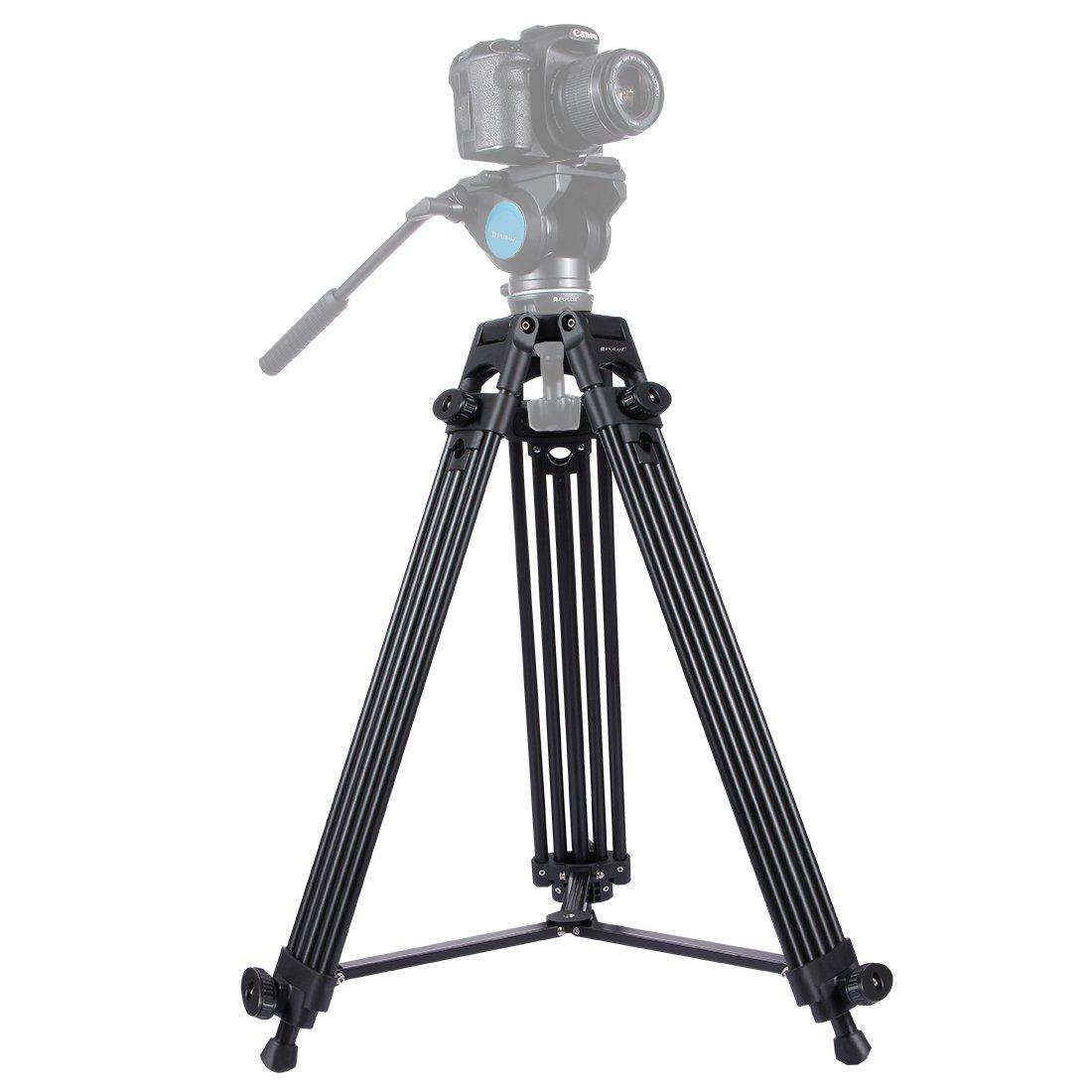 Camera Tripod, PULUZ Professional Universal Heavy Duty Adjustable Aluminum Alloy Tripod Legs for Canon Nikon Sony Samsung DSLR Digital Cameras & Camcorders, Height: 62~150cm, Max Load: 40kg/88lb