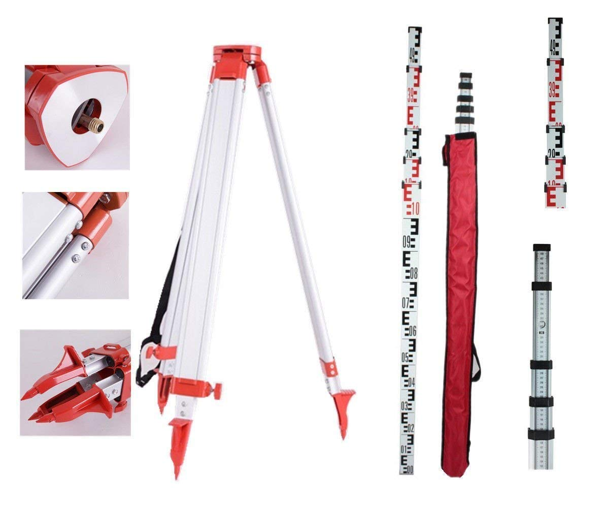 5 m Personal Complete Set Building Measures 1,65 Aluminium Stativ Ridgeyard Total Automatic Self Leveling Rotary Laser Level