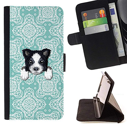 - [ BORDER COLLIE ] Embroidered Cute Dog Puppy Leather Wallet Case FOR Sony Xperia XA1 [ Teal Floral Tiles Pattern ]