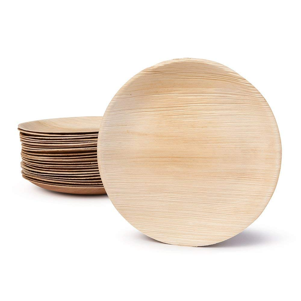 Large Palm Leaf Plates - Environmentally Disposable Tableware | 200 Pieces | 10 Inches Round | Bamboo Style | Biodegradable and Compostable